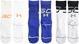 SC30 Phenom Curry Crew Socks 3-Pair (Big Kid)