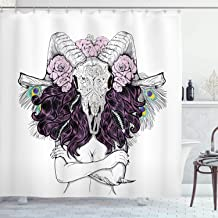 Ambesonne Skull Decorations Shower Curtain, Tribal Lady with Horned Goat Head and Peacock Feather Mystic Voodoo Pattern, Fabric Bathroom Decor Set with Hooks, 75 Inches Long, Multi
