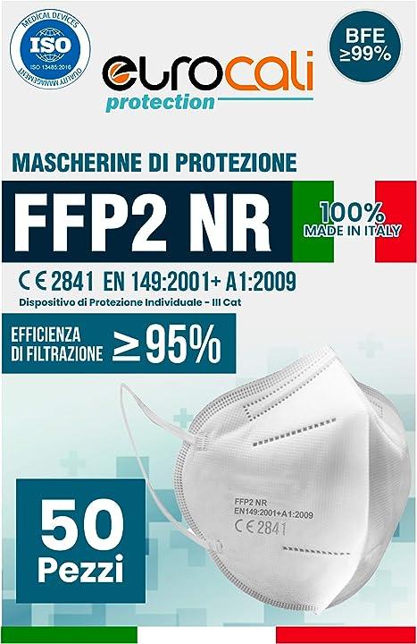 50 mascherine protettive ffp2 certificate ce | bfe ?99% | mascherina prodotta e confezionata in italia 100% B08QZQP3JB