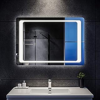 SIRHONA Espejo Baño LED 70x100cm Espejo de Baño con Iluminación LED Espejo de Luz de Baño con Interruptor Senor Infrarrojo...