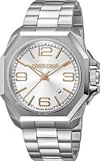 ROBERTO CAVALLI Men's RC-81 Swiss Quartz Watch with Stainless Steel Strap, Silver, 25 (Model: RV1G076M0066)