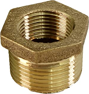 Everflow BRBU1142-NL 1-1/4 Inch Male NPT X 1 Inch Female NPT Brass Lead Free Bushing, Fitting with Hexagonal Head, Brass Construction, Higher Corrosion Resistance Economical & Easy to Install