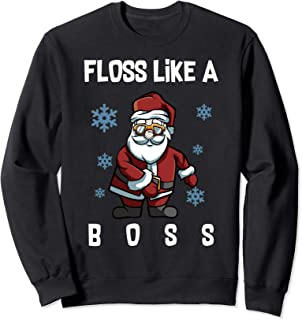 Floss Like A Boss Santa Merry Christmas Lights Trees Funny Sweatshirt