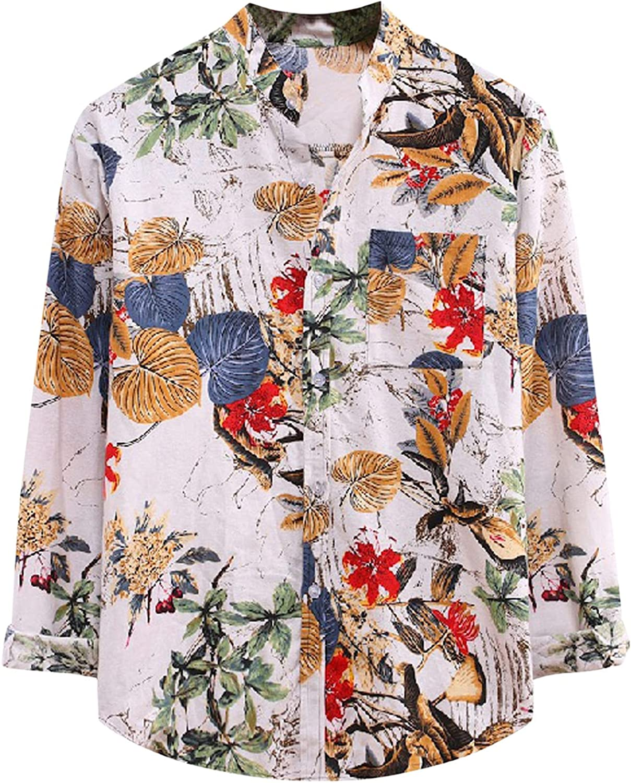 Mens Long Sleeve Shirts Stand-up Collar Print Tops Cotton Linen Button Down Blouse Regular Fit Hawaiian Floral Shirt
