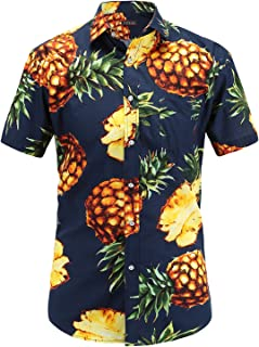 JEETOO アロハシャツ 総柄プリントシャツ パイナップル メンズ 大きいサイズ