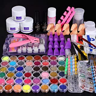 Cooserry 115 In 1 Acrylic Nail Kit - 48 Colors of Glitter Acrylic Powder And Liquid Set for Nails Professional Set - 5 Pcs...