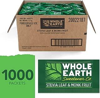 WHOLE EARTH SWEETENER Stevia and Monk Fruit Sweetener, Erythritol Sweetener, Sugar Substitute, Zero Calorie Sweetener, 1,000 Stevia Packets