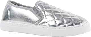 ILLUDE Women's Round Toe Slip On Sneaker Comfort Cushioned Quilted Fashion Sneakers