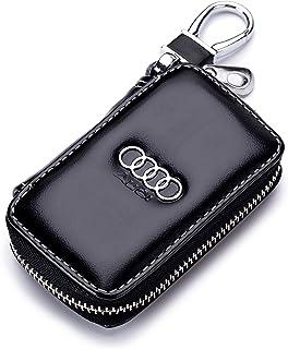 QZS Car Case Remote Key Bag - Leather Black Car Keychain Wallet Bag Case for Key Chains Key Rings Holder for Audi Cars