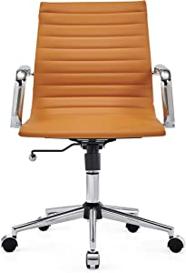 CAROCC Office Chair with Lumbar Support Office Desk Chair mid Back White Desk Chairs with Wheels Swivel Desk Chair 320lbs 3011 (Terracotta)