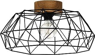 EGLO Plafonnier Padstow - 1 ampoule - Vintage - Industriel - Rétro - Plafonnier en acier et bois - Lampe de salon en noir ...