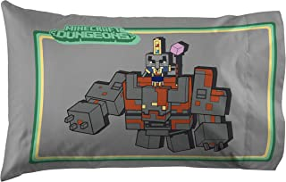 Jay Franco Minecraft Dungeons Dungeoneering 1 Single Pillowcase - Double-Sided Kids Super Soft - Bedding Features Redstone...