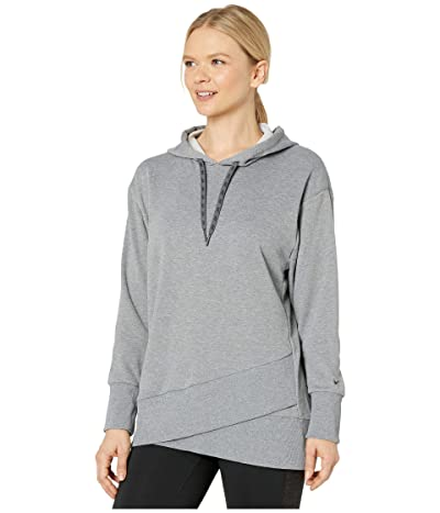 Nike Dry Fleece Get Fit Hooded TP Hem (Carbon Heather/Black) Women