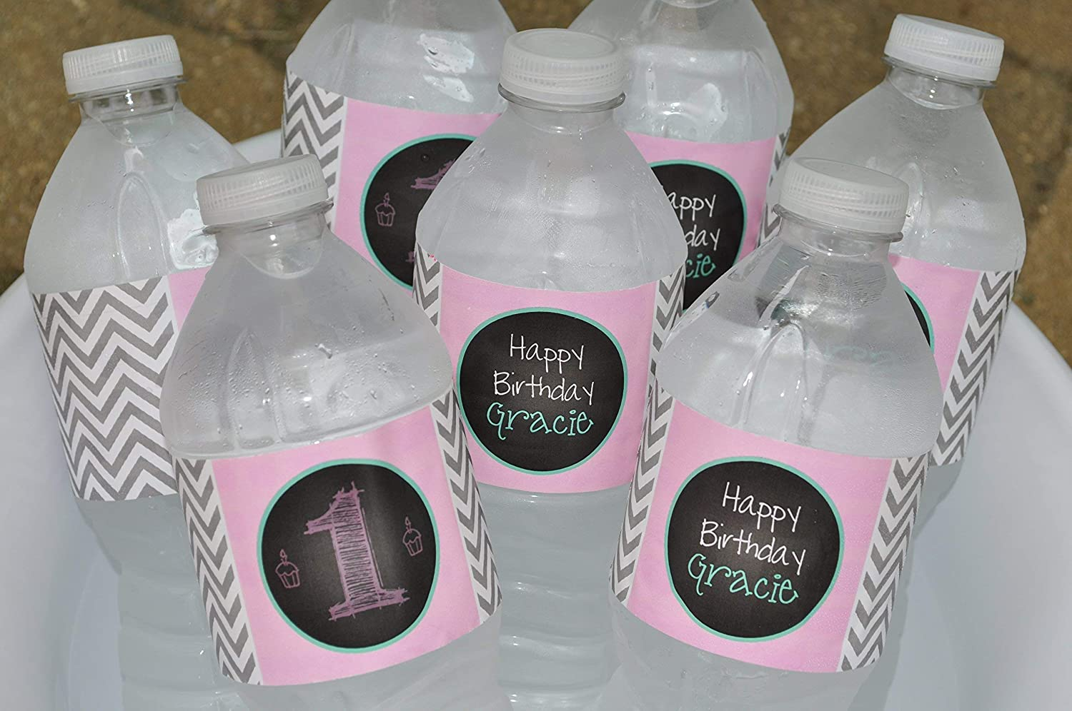Birthday Fashion Water Bottle Labels Directly managed store - 10 of Set Chalkboard