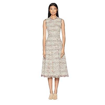 Adam Lippes Cotton Tweed Sleeve Crew Neck Fluted Dress (Ivory Multi) Women