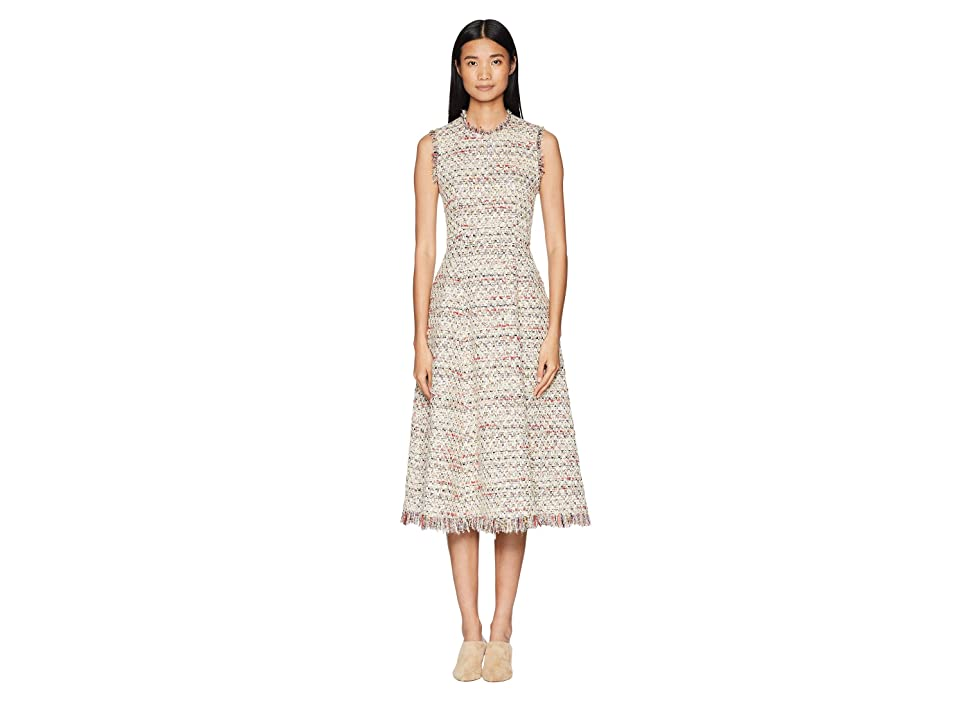 Image of Adam Lippes Cotton Tweed Sleeve Crew Neck Fluted Dress (Ivory Multi) Women's Dress