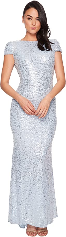 Badgley Mischka Signature Cowl Back Stretch Sequin Gown
