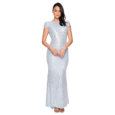 Badgley Mischka Signature Cowl Back Stretch Sequin Gown (Ice Blue) Women