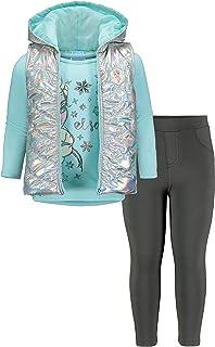 Disney Frozen Elsa 3 Piece Long Sleeve T-Shirt Hooded Vest Legging Set White