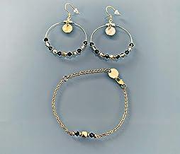 Ornamento per gioielli creoli e bracciale blu e oro, bracciale di perle placcato in oro irregolare, idea regalo da donna, ...