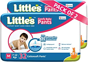 Little's Baby Pants Diapers with Wetness Indicator and 12 Hours Absorption |Medium 64 Count|