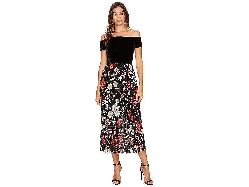 Donna Morgan Off Shoulder Maxi Dress with Pleated Skirt (Black/Dragonfruit Fruit Pink Multi) Women