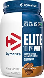 Dymatize Elite 100% Whey Protein Powder, Take Pre Workout or Post Workout, Quick Absorbing & Fast Digesting, Chocolate Peanut Butter, 2 Pound