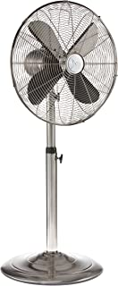 "Oscillating Standing Floor Fan - Whisper Quiet Cooling Pedestal Fan, Adjustable 37-49 Inches Height, Large 16"" Indoor Pedestal Fan for Your Bedroom, Office, Shop, House (Black Pearl) (Silver)"