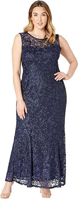 Plus Size Sleeveless Lace Gown