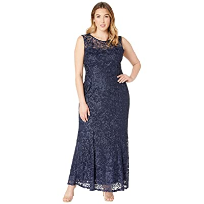 MARINA Plus Size Sleeveless Lace Gown (Eggplant) Women