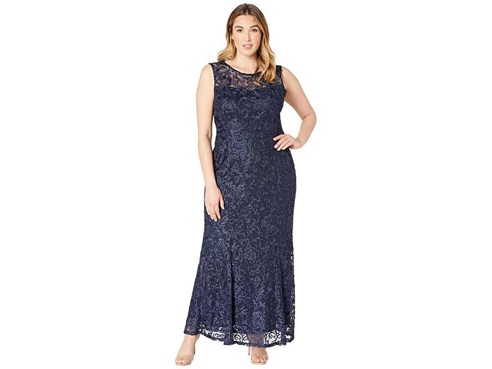 MARINA Plus Size Sleeveless Lace Gown (Eggplant) Women
