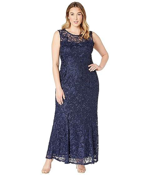 MARINA Plus Size Sleeveless Lace Gown, Eggplant