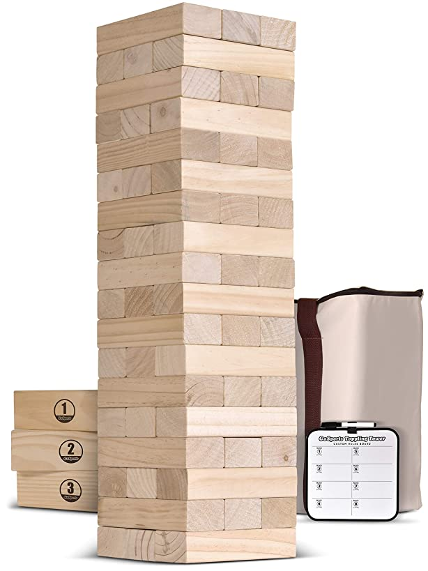 GoSports Giant Wooden Toppling Tower (Stacks to 5+ Feet)   Choose Between Natural, Brown Stain or Gray Stain   Includes Bonus Rules with Gameboard   Made from Premium Pine