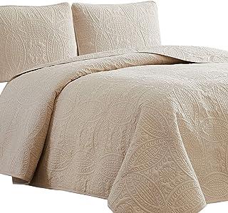 Mellanni Bedspread Coverlet Set Beige - Comforter Bedding Cover - Oversized 3-Piece Quilt Set (Full/Queen, Beige)