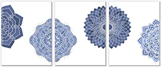 Mandala Wall Decor - Indigo Blue Art Prints - Set of 3-8 x10 - Home Decor - Unframed