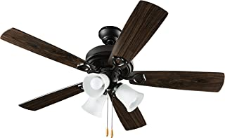 Hyperikon 42 Inch Ceiling Fan, with Pull Chain, Classical Style, Black, 5 Reversable Blades, Bulbs Not Included