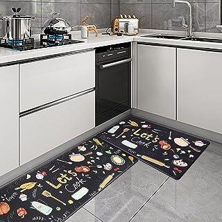 Kitchen Mat Set, KIMODE 2 Piece Anti Fatigue Kitchen Floor Mat Comfort PVC Leather Standing Cushioned Waterproof Rubber Ba...