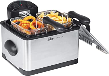 Elite Gourmet 1700-Watt Stainless-Steel Triple Basket Electric Deep Fryer with Timer and Temperature Knobs and Odor Free Filter, 4.2L/17-Cup