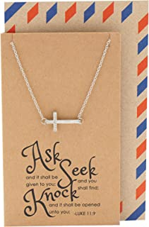 Quan Jewelry Religious Christian Sideways Cross Crucifix Pendant Necklace with Bible Quote Birthday Gift Card, Gifts for Women, Sister, Mother, Best Friends
