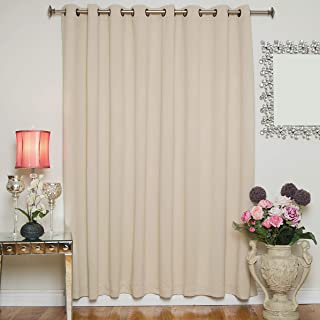 Blackout Curtain Beige Wide Width Antique Brass Grommet Top Thermal Insulated 100 Inch Wide by 84 Inch Long Panel