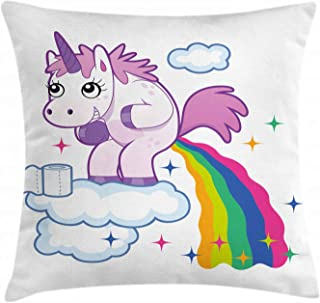 Ambesonne Funny Throw Pillow Cushion Cover, Unicorn Pooping Rainbow Over Clouds Creative Kids Girls Fairy Tale Fantasy Cartoon, Decorative Square Accent Pillow Case, 18 X 18 inches, Multicolor