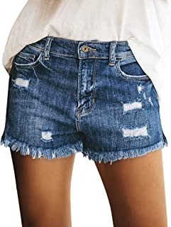 Utyful Women's Summer Mid Waist Ripped Raw Cut Hem Washed Distressed Stretchy Denim Jean Shorts