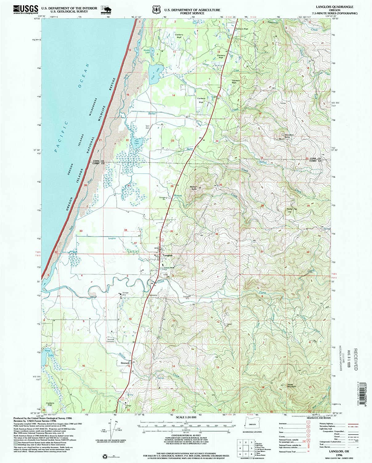 Langlois OR topo map, 1 24000 Scale, 7.5 X 7.5 Minute, Historical, 1996, Updated 1999, 26.6 x 21.5 in