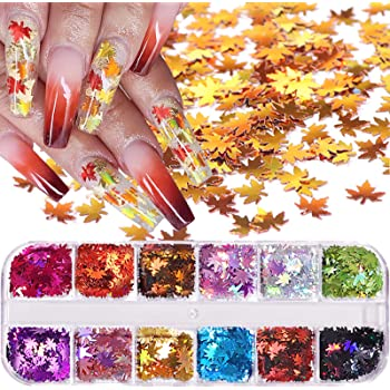 12 Colors Fall Leaf Glitter Nail Sequins - 3D Maple Leaf Holographic Nail Art Flakes Colorful Confetti Glitter Sticker Decals Manicure Nail Art Design Makeup DIY Christmas Decorations