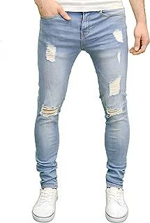 Mens Ripped Super Stretch Skinny Distressed Jeans