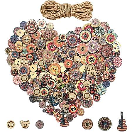 100Pcs Love Heart Handmade Wooden Button Sewing Scrapbook DIY Decor Craft S qsbai