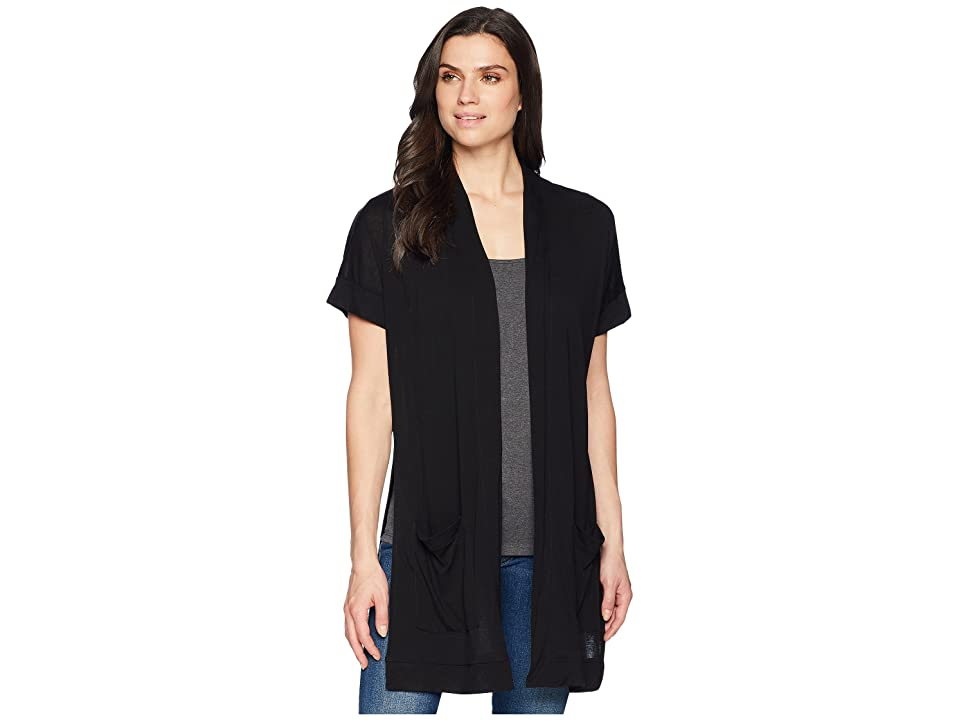 Three Dots Ayala Short Sleeve Cardigan (Black) Women