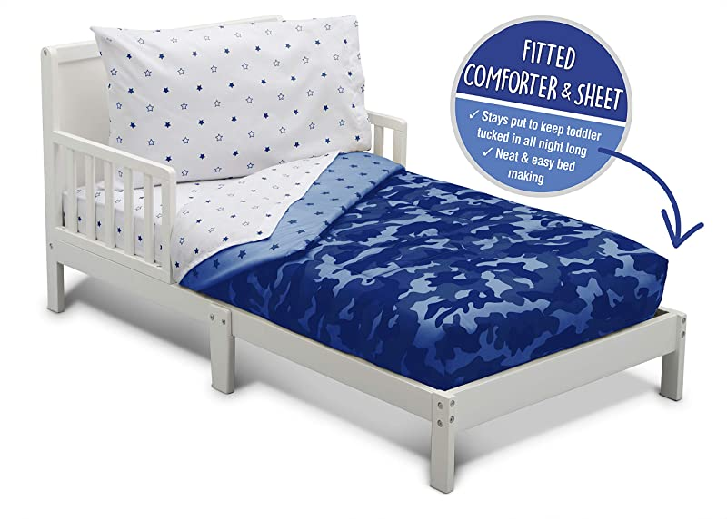 Toddler Bedding Set Boys 4 Piece Collection Fitted Sheet Flat Top Sheet W Elastic Bottom Fitted Comforter W Elastic Bottom Pillowcase Delta Children Boys Camo Stars Blue