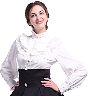 Women Lolita Lace Lotus Ruffle Shirt Stand-up Collar Retro Victorian Steampunk Gothic Blouse Vintage Tops