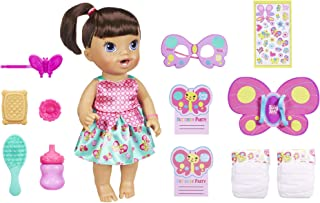 Baby Alive Butterfly Party: Brown Hair Doll with 12 Accessories That Drinks & Wets, Great Doll For 3-Year-Old Girls & Boys & Up